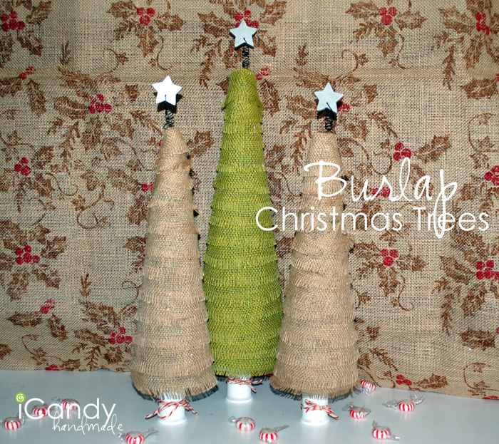 Diy burlap christmas trees icandy handmade for Crafts made with burlap