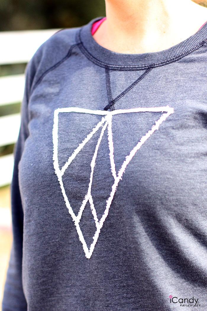 Frayed Appliqued Sweatshirt Close Up