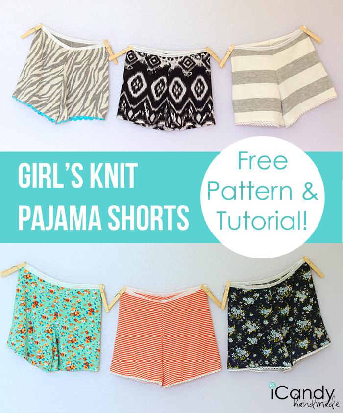 DIY Girls Knit Pajama Shorts