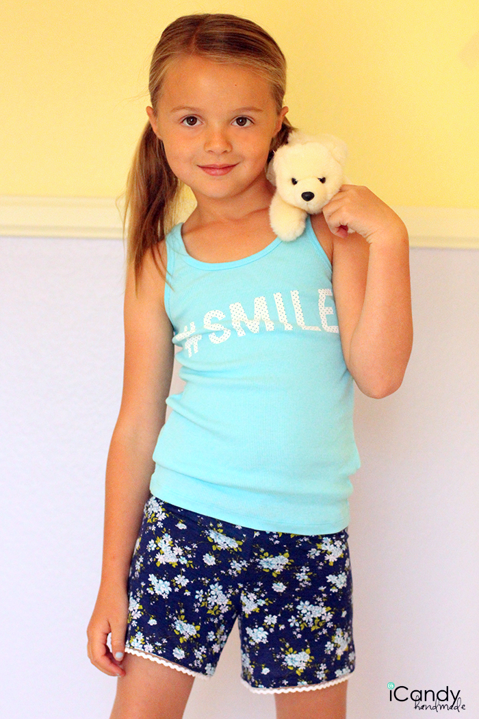 DIY Girls Knit Pajama Shorts - iCandy handmade