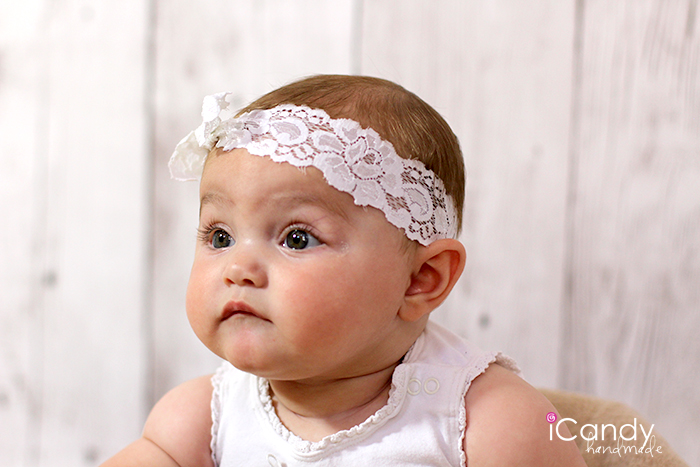 White Elastic Lace Headband2