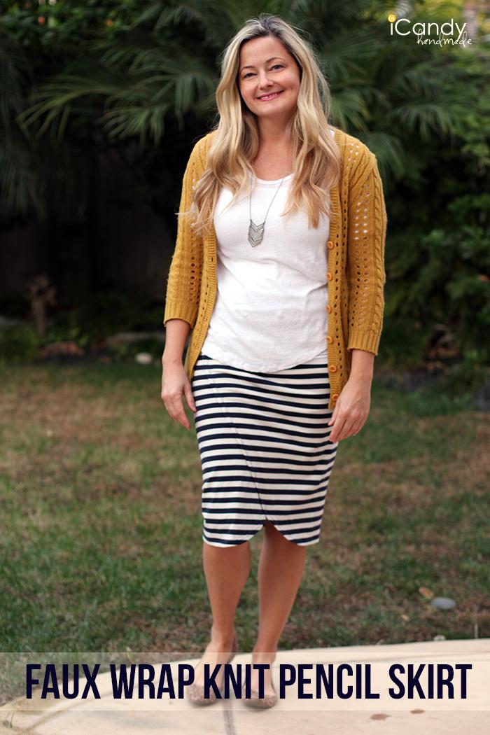 Faux Wrap Knit Pencil Skirt1
