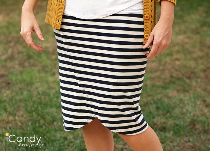 Faux Wrap Knit Pencil Skirt2