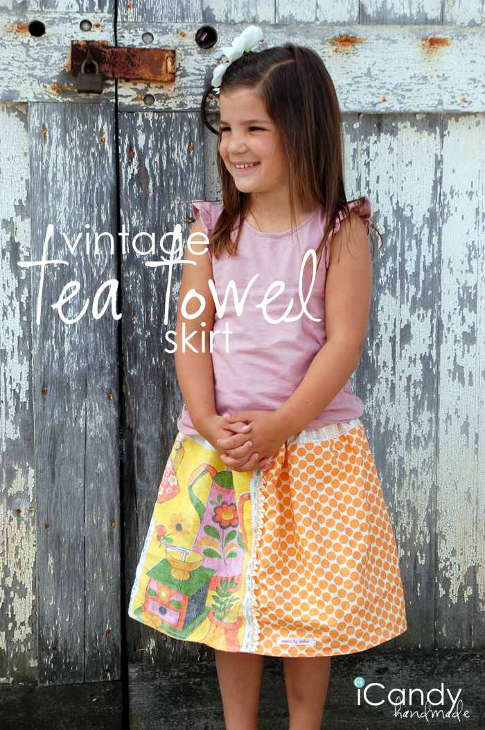 vintage tea towel skirt n copy pin