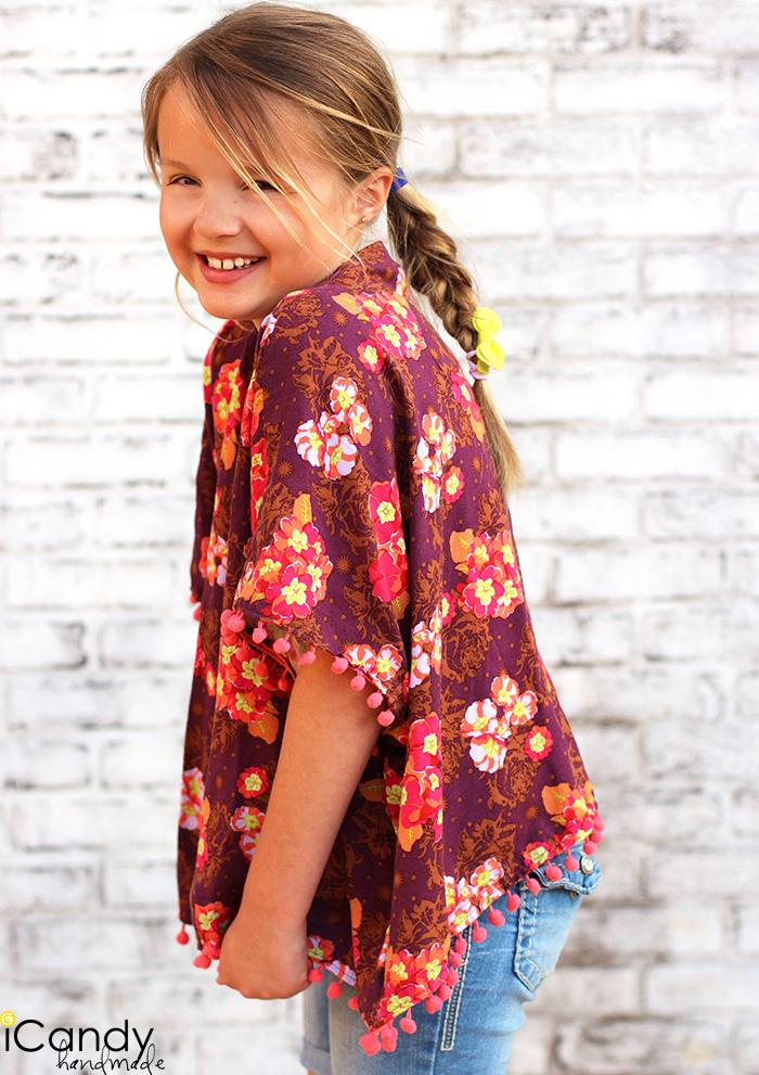 Girl's Pom Pom Kimono